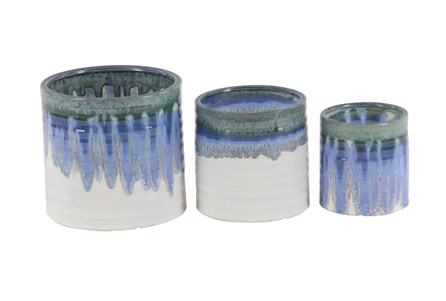 9 Inch Blue Ceramic Planter With Color Gradient Set Of 3 - Main