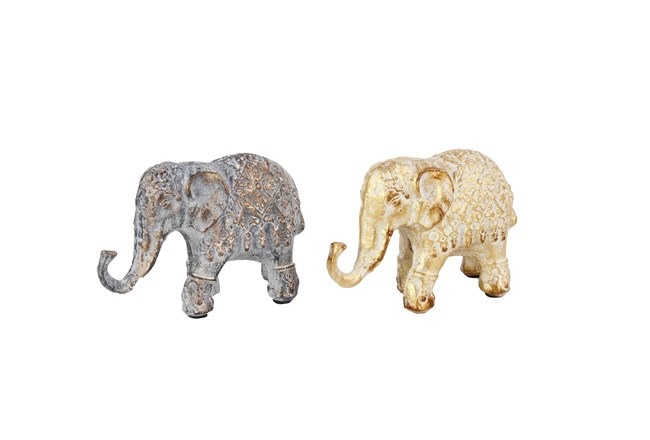 5 Inch Multi Metal Elephant Sculpture Set Of 2 - 360