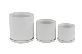 9 Inch White Stoneware Planter W/ Tray Set Of 3