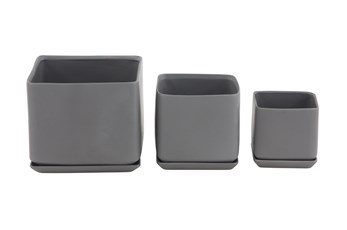 9 Inch Black Ceramic Planter W/ Tray Set Of 3