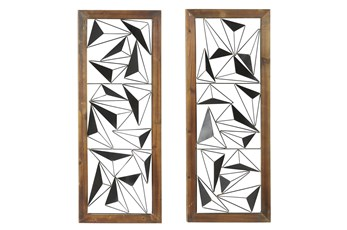 39 Inch Black Metal Wall Decor Wood Set Of 2