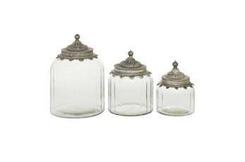 9 Inch Clear Decorative Glass Jars W/ Metal Lids Set Of 3