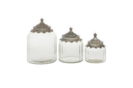 9 Inch Clear Decorative Glass Jars With Metal Lids Set Of 3 - Main