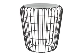 18 Inch Grey Outdoor Metal Accent Table