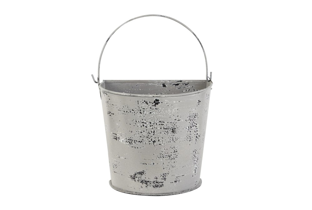 10 Inch White Metal Planter Bucket W/ Handle