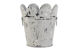 12 Inch White Metal Planter Scalloped Design