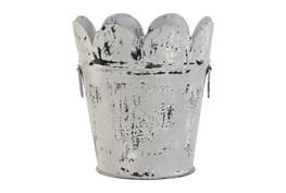 12 Inch White Metal Planter Scalloped Design