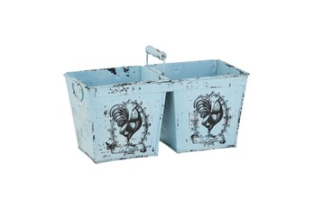 11 Inch Light Blue Metal Double Planter