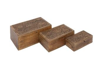6 Inch Brown Wood Box Floral Carvings Set Of 3