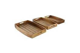2 Inch Natural Brown Wood Tray Set Of 3