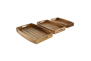 2 Inch Natural Brown Wood Tray Set Of 3