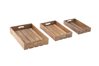 3 Inch Brown Wood Tray Set Of 3