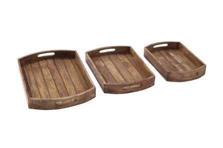 2 Inch Light Brown Wood Tray Set Of 3 - Main