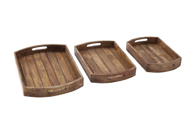 2 Inch Light Brown Wood Tray Set Of 3 - 360