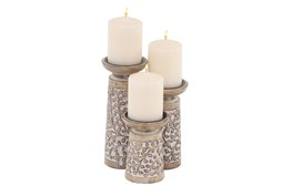 9 Inch Brown Wood & Metal Candle Holder Set Of 3