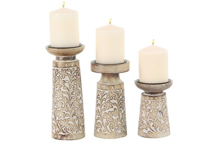 10 Inch Brown Wood & Metal Candle Holder Set Of 3 - Main