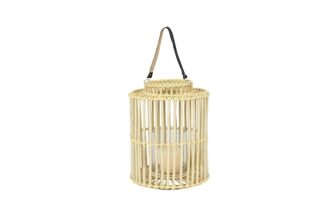 18 Inch Light Brown Rattan Lantern - 360