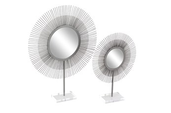 Set of 2 Silver Metal + Acrylic Sunburst Mirrors