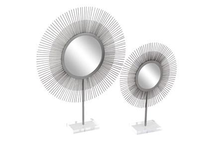 Set of 2 Silver Metal + Acrylic Sunburst Mirrors - Main