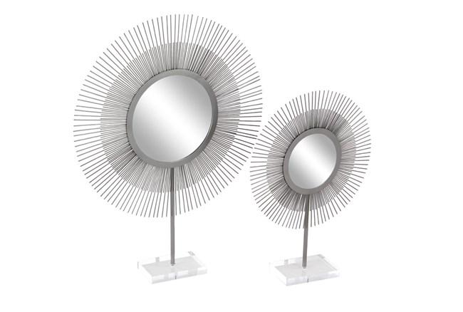 Set of 2 Silver Metal + Acrylic Sunburst Mirrors - 360