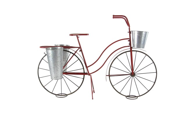 38 Inch Red Metal Bicycle Plant Stand - 360
