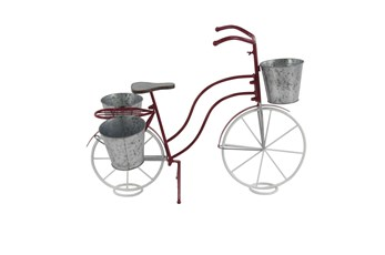 23 Inch Red Metal Galvanized Bicycle Planter