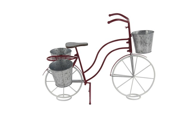 23 Inch Red Metal Galvanized Bicycle Planter - 360