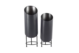 33 Inch Black Metal Plant Stand Set Of 2