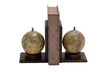 8 Inch Multi Wood & Metal Globe Bookend Set Of 2