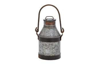 13 Inch Grey Decorative Galvanized Metal Milk Can