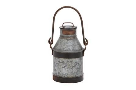 13 Inch Grey Decorative Galvanized Metal Milk Can - Main