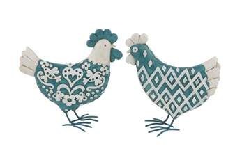 9 Inch Turquoise Polystone & Metal Sculpture Rooster Set Of 2