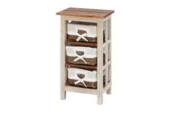 29 Inch White Wood Storage Unit Side Table