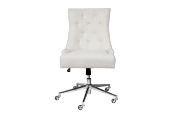 Merina Cream Button Tufted Desk Chair