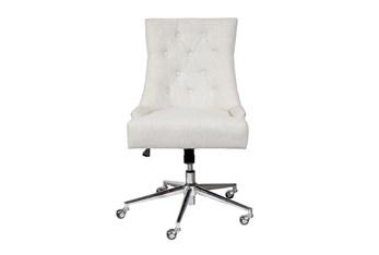 Merina Cream Button Tufted Desk Chair