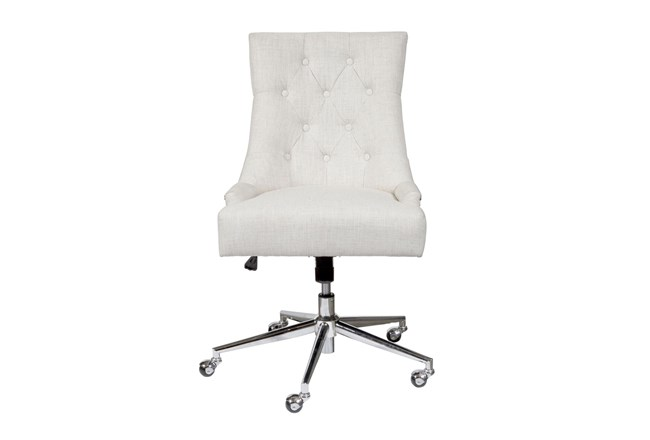 Beige Button Tufted Office Chair - 360
