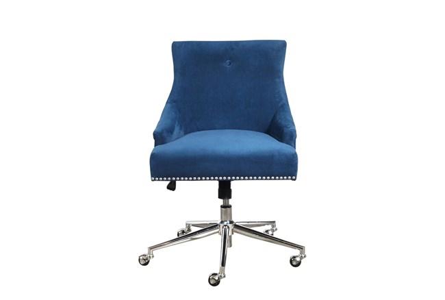 Adrian Navy Velvet Desk Chair - 360