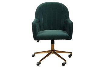 Isla Emerald Velvet Channeled Desk Chair