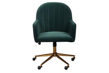Isla Emerald Velvet Channeled Desk Chair