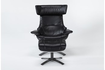 Raiden Black Leather Reclining Swivel Chair