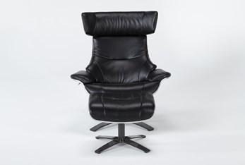 Raiden Black Leather Reclining Swivel Chair & Ottoman