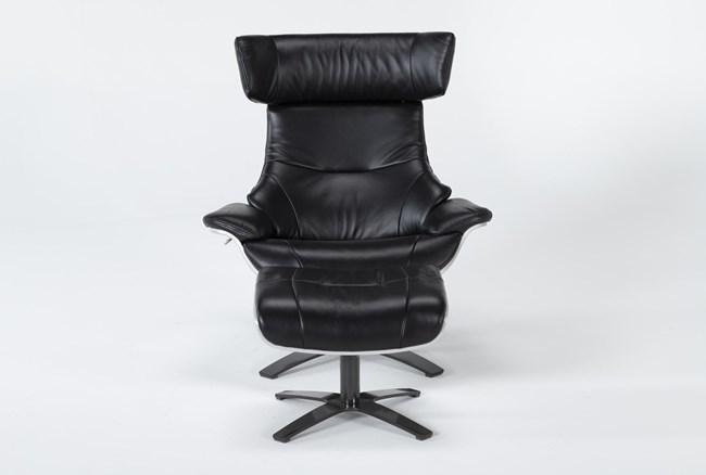 Raiden Black Leather Reclining Swivel Chair & Ottoman - 360