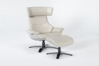 Raiden Mushroom Grey Leather Reclining Swivel Chair & Ottoman