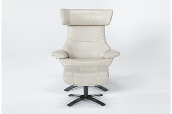 Raiden Mushroom Grey Leather Reclining Swivel Chair & Ottoman