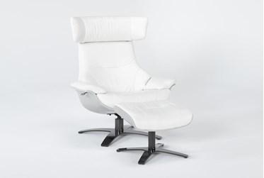 Raiden White Leather Reclining Swivel Chair & Ottoman