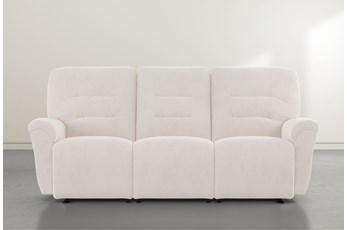 "Zara Ivory Power Reclining Space Saver 86"" Sofa"
