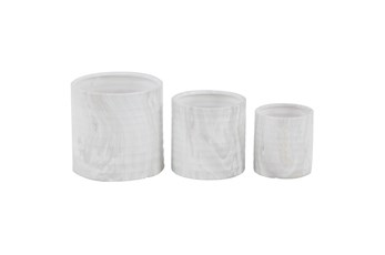 9 Inch White Ceramic Planter Set Of 3