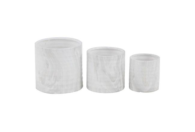 9 Inch White Ceramic Planter Set Of 3 - 360