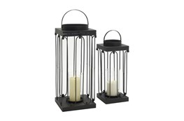 24 Inch Black Metal Glass Candle Lantern Set Of 2
