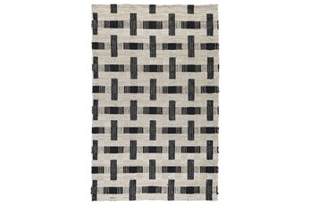 "2'6""x8' Runner Rug-Woven Natural Fiber Ivory/Black"